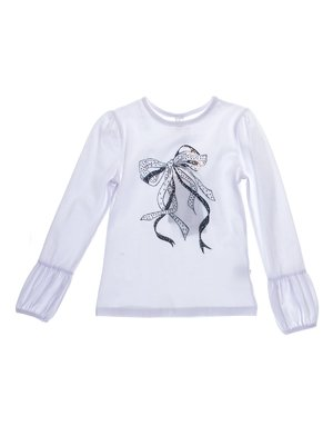Джемпер белый с декорированным принтом | 1039102