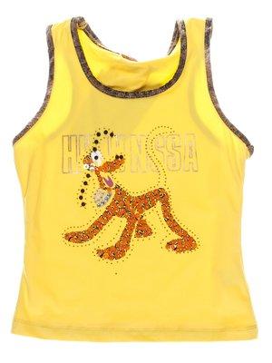 Майка жовта з декорованим принтом і контрастним оздобленням   1051288