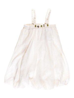 Платье бело-золотистое с  декором | 1051135