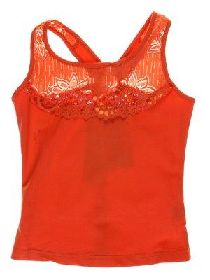 Топ помаранчевий з ажурним оздобленням, декорований паєтками | 1051268