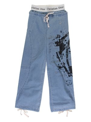Джинси блакитні з принтом і декором | 1051345