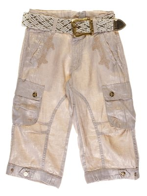 Бриджи бежево-золотистые с вышивкой | 1051131