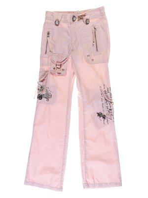 Брюки розовые с вышивкой и надписями | 1051203