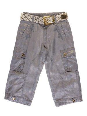 Бриджи серо-золотистые с вышивкой | 1051132