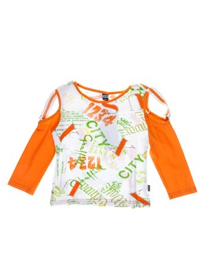 Джемпер біло-оранжевий в написи | 1051376