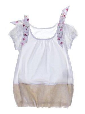 Платье бело-бежевое с бантиками | 1063606