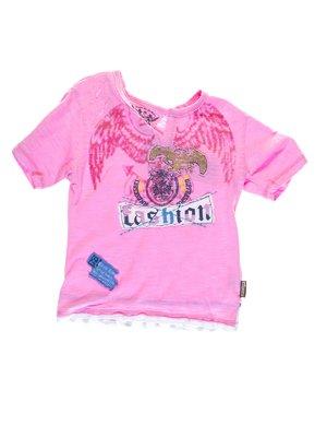 Футболка розовая с принтом | 1076757
