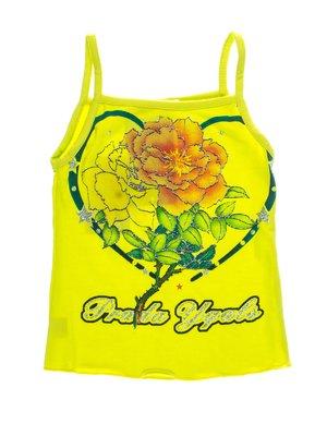 Майка салатово-желтая с принтом | 1076625