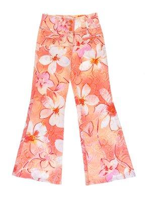 Штани помаранчеві в квітковий принт | 1076741
