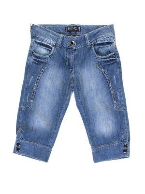 Капрі сині джинсові з ефектом потертих | 1076955