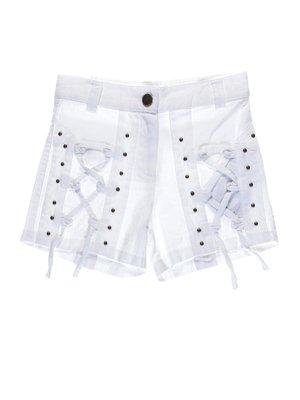 Шорты белые с декоративными шнуровками | 1076720