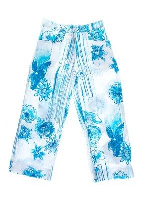 Капри бело-голубые в цветочный принт | 1076739