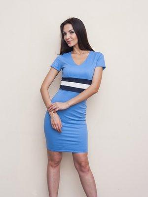Сукня блакитна з контрастним оздобленням | 1115421