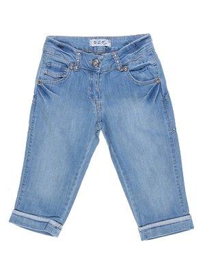 Шорти блакитні джинсові з ефектом потертих | 1076954