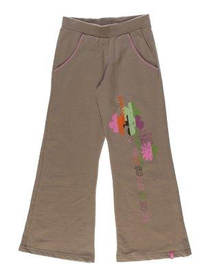 Штаны цвета хаки с контрастным принтом | 1051314