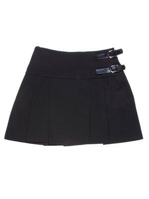 Юбка черная со складками и ремешками | 1236960