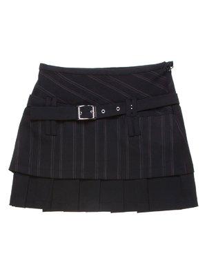 Юбка черная в узкую полоску со складками | 1236822