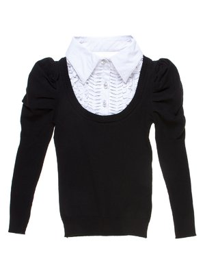 Джемпер чорний зі стилізованою блузою | 1236919