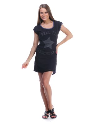 Сукня чорно-синя з принтом | 976222