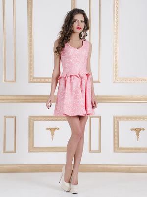 Сукня рожево-біла в малюнок | 1246059
