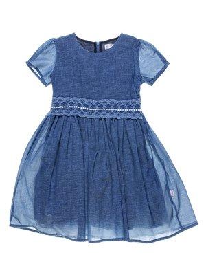Платье синее с ажурной отделкой и декором | 1039099