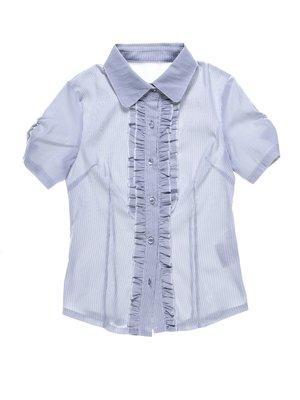 Блуза сіра у вузьку смужку з рюшами | 1263418