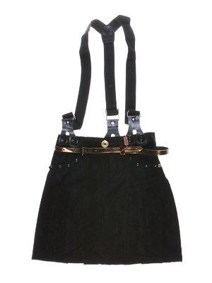 Юбка черная в складку с подтяжками и декором | 1270001