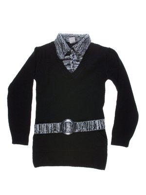 Туніка чорна зі стилізованим джемпером і поясом | 1270045