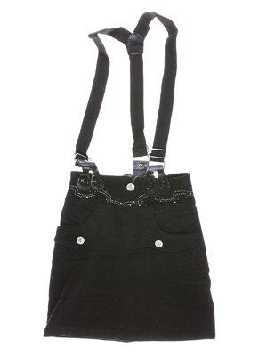 Юбка черная с подтяжками и декором | 1269998
