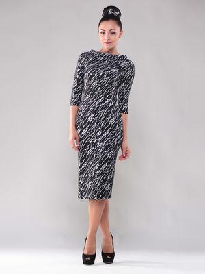 Платье черно-белое в абстрактную полоску | 1300417