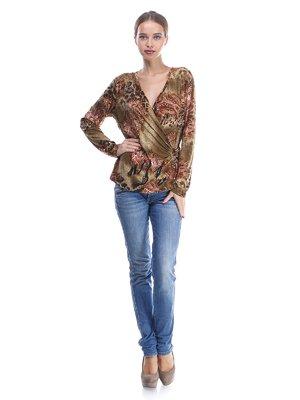 Блуза зеленая в комбинированный принт | 570551
