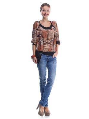 Блуза коричневая в абстрактный принт | 570546