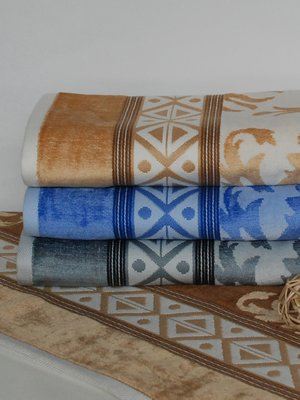 Рушник махровий для бані бежевий (70х140 см) | 1316797
