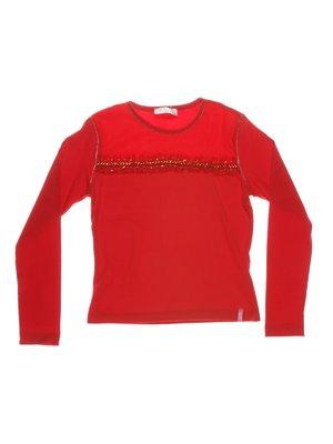 Джемпер червоний з рюшами і декором | 1364760