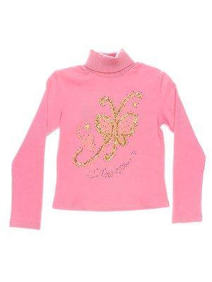 Гольф розовый с декором тёплый | 1364736
