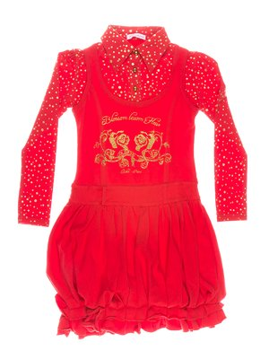 Платье красное, стилизованное под блузу и сарафан | 649180