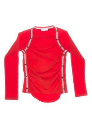 Блуза червона з контрастним оздобленням | 1364650