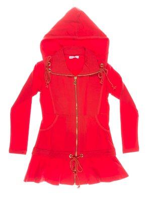 Платье-туника красное с кулисками и капюшоном | 649182