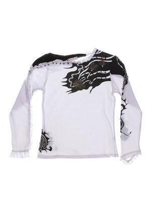 Блуза біло-чорна з принтом і декором | 1364660