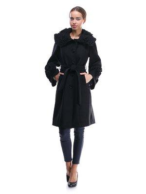 Пальто чорне з оздобленням і поясом-зав'язкою | 1370624