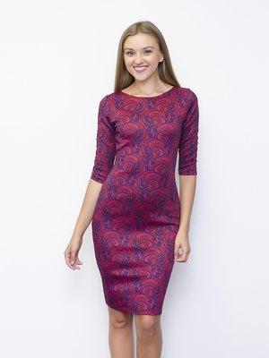 Сукня червоно-синя в мереживний принт   1373966