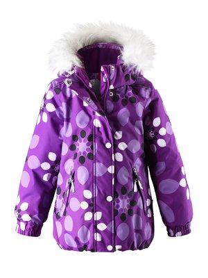 Куртка фиолетовая в принт с капюшоном | 1378051
