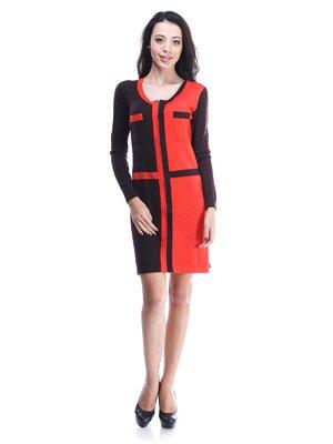 Платье черно-рыжего цвета | 1386868