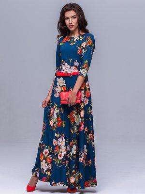 Платье синее в цветочный принт | 1404233