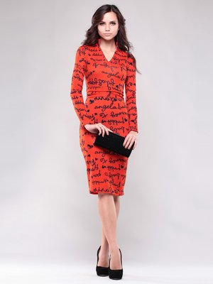 Сукня помаранчево-коралового кольору в принт   1417845