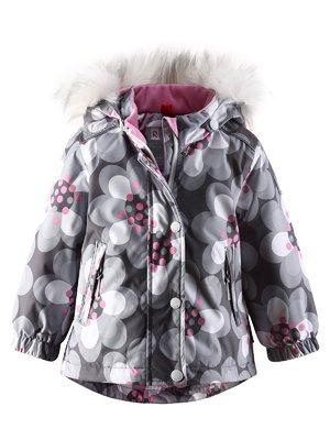 Куртка серая в цветочный принт | 1422361