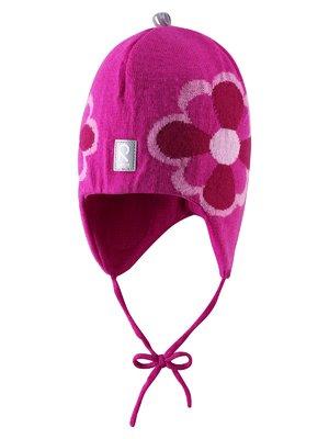 Шапка розовая с цветочным рисунком | 1422377
