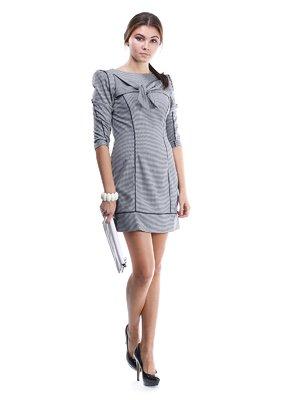 Сукня чорно-біла зі стилізованим бантом | 1433323