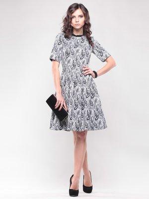Сукня біло-сіра в принт   1438924