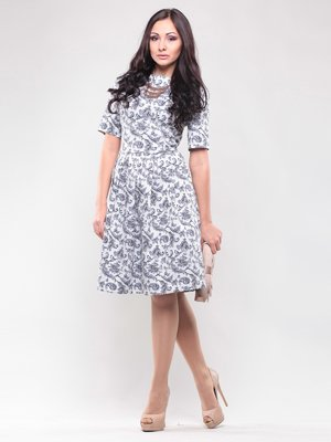 Платье серо-белое в принт | 1438925